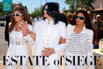 Michael Jackson, flanked by sisters La Toya and Janet, 2004.Photograph by Ed Souza/Getty Images.