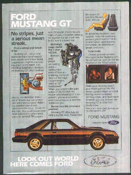 1982 Ford Mustang GT ad