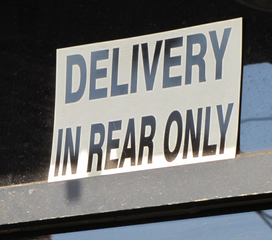 delivery in rear only sign