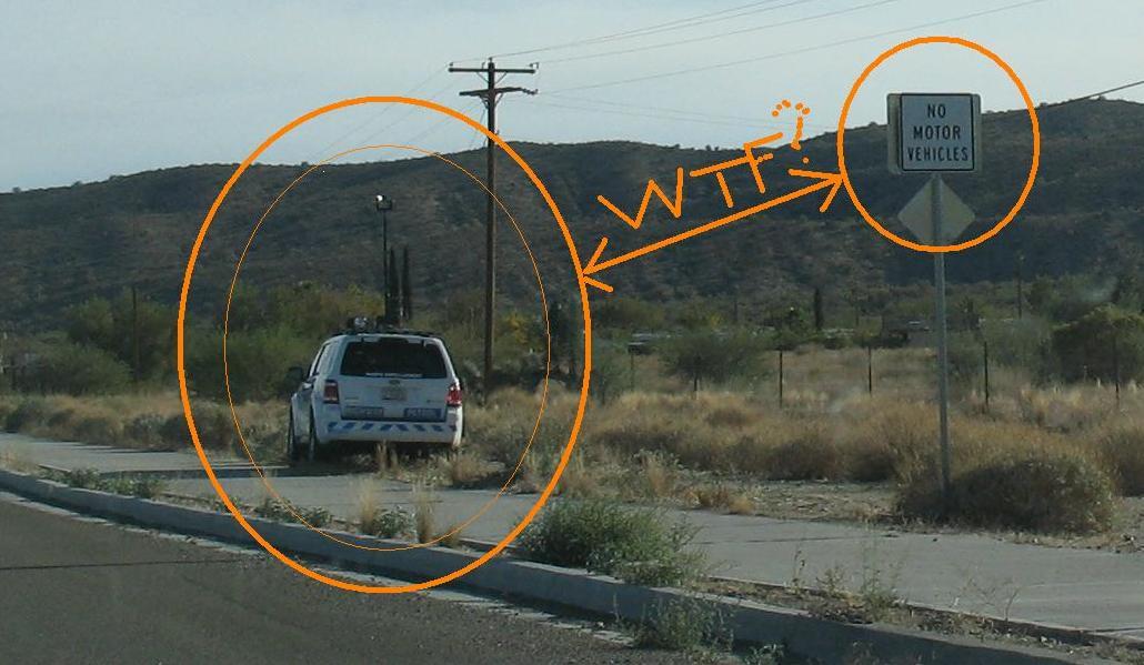 Photo radar cop on sidewalk