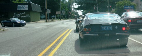 Ferrari, Jaguar XK8 Porsche Boxter, all running to Serafino's for Bud Light and Brie