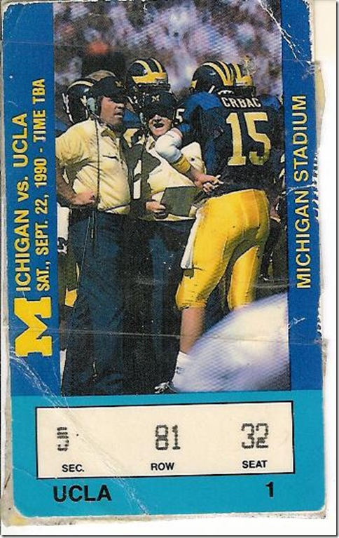 Michigan UCLA 1990 ticket