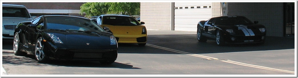 Lamborghini Gallardo(s) and a Ford GT